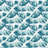 Seamless pattern of the great wave off Kanagawa Stock Images