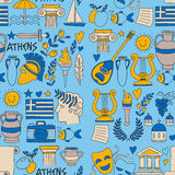 Seamless Pattern Greece travel Doodle icons, elements Sea, sculpture Royalty Free Stock Images
