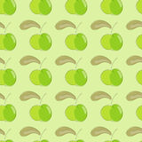 Seamless pattern green apple with brown leaf. Stock Images