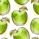 Seamless pattern with green apple Stock Photos