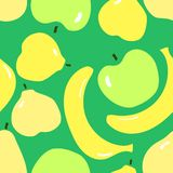 Seamless pattern with green apples. yellow bananas, yellow pears. Minimalism flat design vector illustration