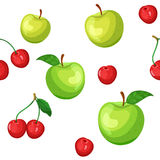 Seamless pattern of green apples and cherries Royalty Free Stock Photography