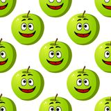 Seamless pattern of green apples fruits Stock Photos