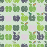Seamless pattern. Green apples in hipster style on mint background. Vector illustration. Stock Photography