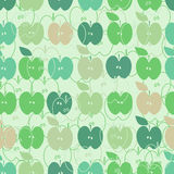 Seamless pattern. Green apples in hipster style on mint background. Vector illustration. Stock Photos
