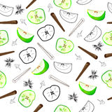 Seamless pattern of green apples Stock Photo
