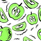 Seamless pattern with green apples vector illustration