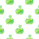 Seamless pattern with green apples Stock Photos