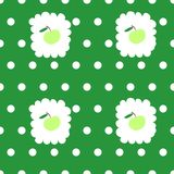 Seamless pattern with green apples and white dots Stock Image