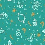 Painted female tricks. Beads, comb, mirror, powder, candle, bath salt, cupcake, cosmetics. Vector pattern on a green background. Seamless  pattern on a green Stock Photo