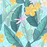 Seamless pattern with green Banana leaves, tropical flowers and drugonflyes on the dusty, abstract background. Vector. Illustration royalty free illustration