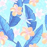 Seamless pattern with green Banana leaves, tropical flowers and drugonflyes on the dusty, abstract background. Vector. Illustration vector illustration