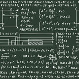 Seamless pattern on the green blackboard with handwriting text and mathematical formulas Stock Photos