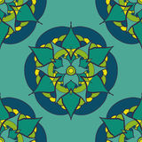 seamless pattern with green blue mandala Royalty Free Stock Image