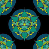 seamless pattern with green blue mandala Stock Images