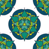 seamless pattern with green blue mandala Stock Photos
