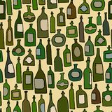 Seamless pattern with green bottles Royalty Free Stock Images