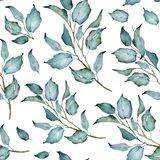 Seamless Pattern. Green Branches. Watercolor Floaral Pattern. Floral Arrangement. Floral illustration. Leaves and Branches. Botanic composition. Great for floral royalty free illustration