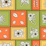 Seamless pattern with green and brown doodle flowers,branches and leaves stock illustration
