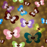 Seamless pattern with green butterflies Stock Image