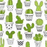 Seamless pattern with  green cactus in pots black and white. Vector illustration, eps Royalty Free Stock Images