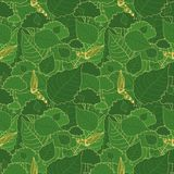 Seamless pattern, green camouflage of poplar leaves and buds for fabrics, Wallpapers, tablecloths, prints and designs. royalty free illustration
