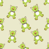 Seamless pattern with green cat Stock Photos