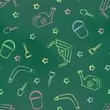 Seamless pattern green chalk board with color children's chalk drawings. Hand-drawn style Stock Photo