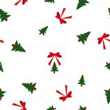 Seamless pattern green Christmas fir trees big and small, red balls and bows on white background Royalty Free Stock Photo