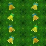 Seamless pattern for Patrick`s day with fairies. Seamless pattern with green clover and bright glowing flying fairies. Party design vector illustration for Stock Photo