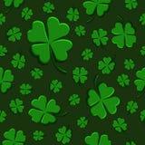 Seamless pattern green clover leaf decorative on a dark green background royalty free illustration