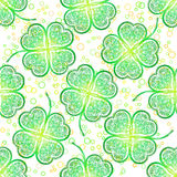 Seamless Pattern, Green Clover Stock Photo