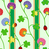 Seamless pattern with green clover shamrock ladybugs and ribbons Vector illustration Royalty Free Stock Photo