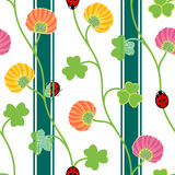 Seamless pattern with green clover shamrock ladybugs and ribbons on a white background Vector illustration Stock Photos
