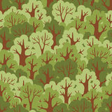 Seamless pattern with green deciduous forest. Stock Photos