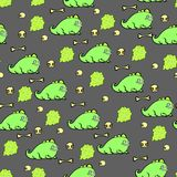 seamless pattern of dinosaurs and skulls on gray background stock illustration