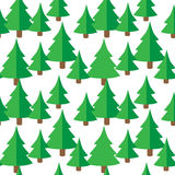 Seamless pattern with green fir trees. Christmas trees seamless pattern Vector illustration Stock Photos