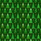Seamless pattern with green fir-trees. Winter graphic background with christmas trees on dark green. Wrapping paper Christmas Royalty Free Stock Image