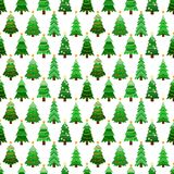 Seamless pattern with green fir-trees. Winter graphic background with christmas trees on white. Wrapping paper Christmas Stock Photography