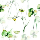 Seamless pattern with green flowers. Watercolor painting Royalty Free Stock Image
