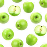 Seamless pattern with green fresh apples. Stock Photo