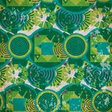 Seamless pattern of  green geometric shapes in vintage style Stock Photos