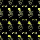 Seamless pattern with green grapes,leaves and words Wine on the. Black background. Vector illustration Stock Photography