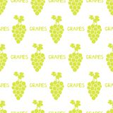 Seamless pattern with green grapes on the white background. Vector illustration Stock Image