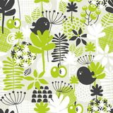 Seamless pattern with green grass and dark birds. Royalty Free Stock Images