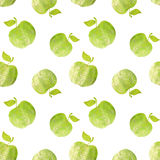Seamless pattern with green hand-drawn apples on white background. Seamless pattern with green hand-drawn apples on white Royalty Free Stock Photography
