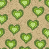 Seamless pattern with green hearts Stock Photography