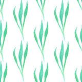 Seamless pattern with green  leaf. Vector illustration. Watercolor painted background Stock Image