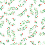 Seamless pattern with green  leaf. Vector illustration. Watercolor painted background Stock Photos