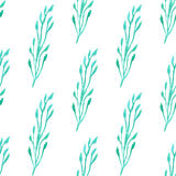 Seamless pattern with green  leaf. Vector illustration. Watercolor painted background.  Stock Images